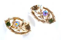Vintage Bamboo Link And Rhinestone Clip On Earrings By Jewelcraft.